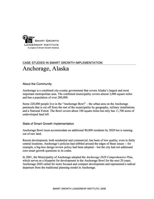 Case Studies in Smart Growth Implementation: Anchorage, Alaska