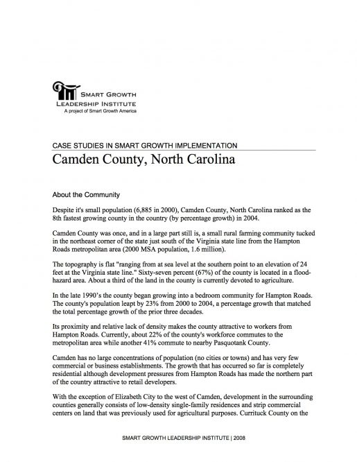 Case Studies in Smart Growth Implementation: Camden County, North Carolina
