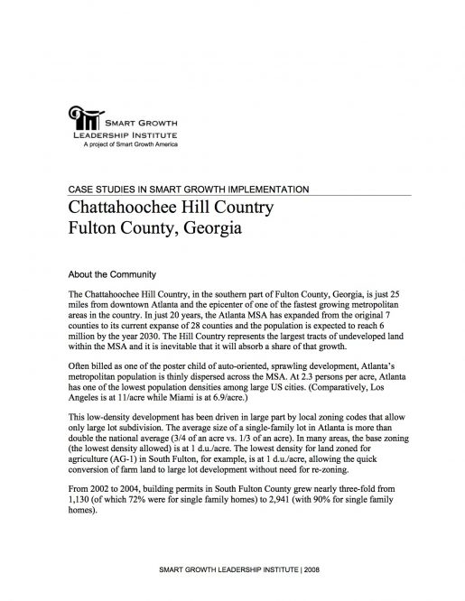Case Studies in Smart Growth Implementation: Chattahoochee Hill Country, Fulton County, Georgia
