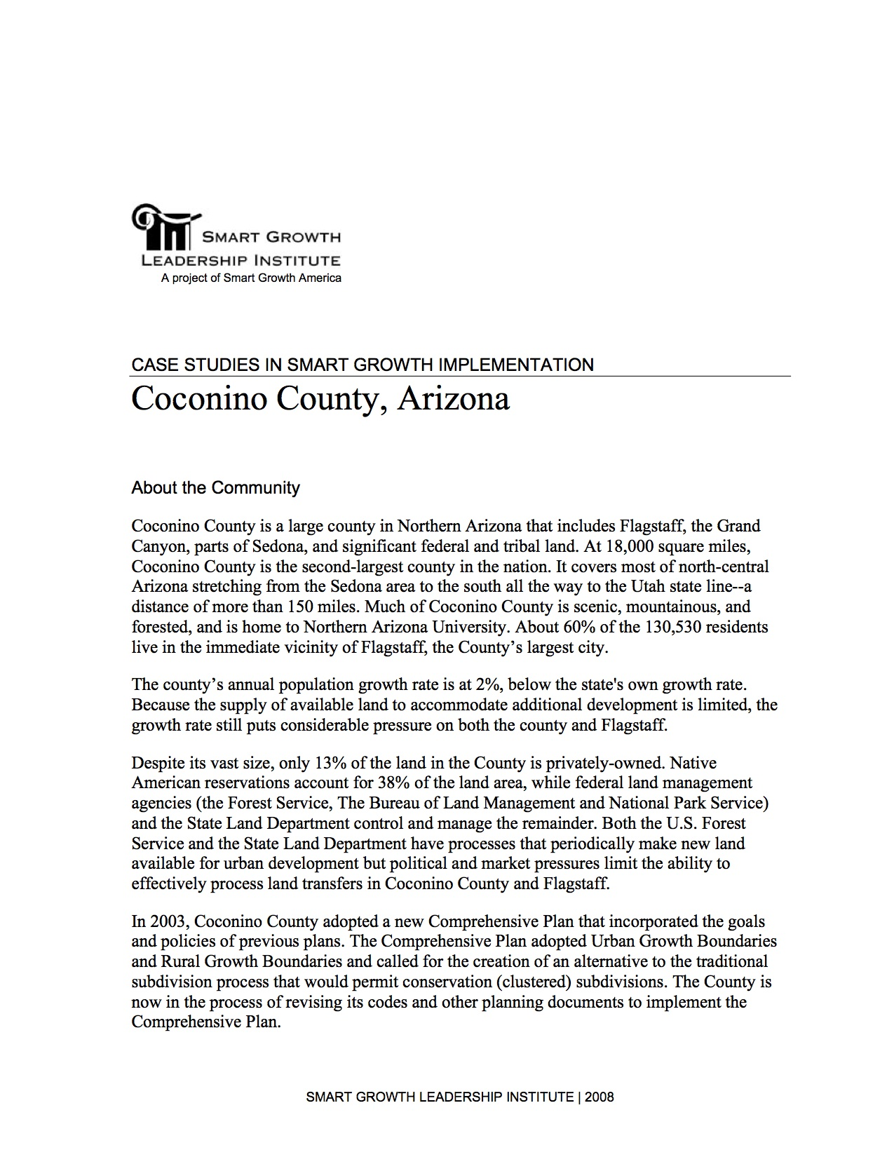 Case Studies in Smart Growth Implementation: Coconino County, Arizona