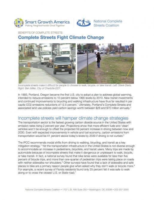 Climate: Benefits of Complete Streets