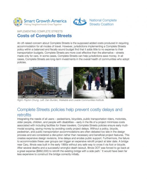 Cost of Complete Streets