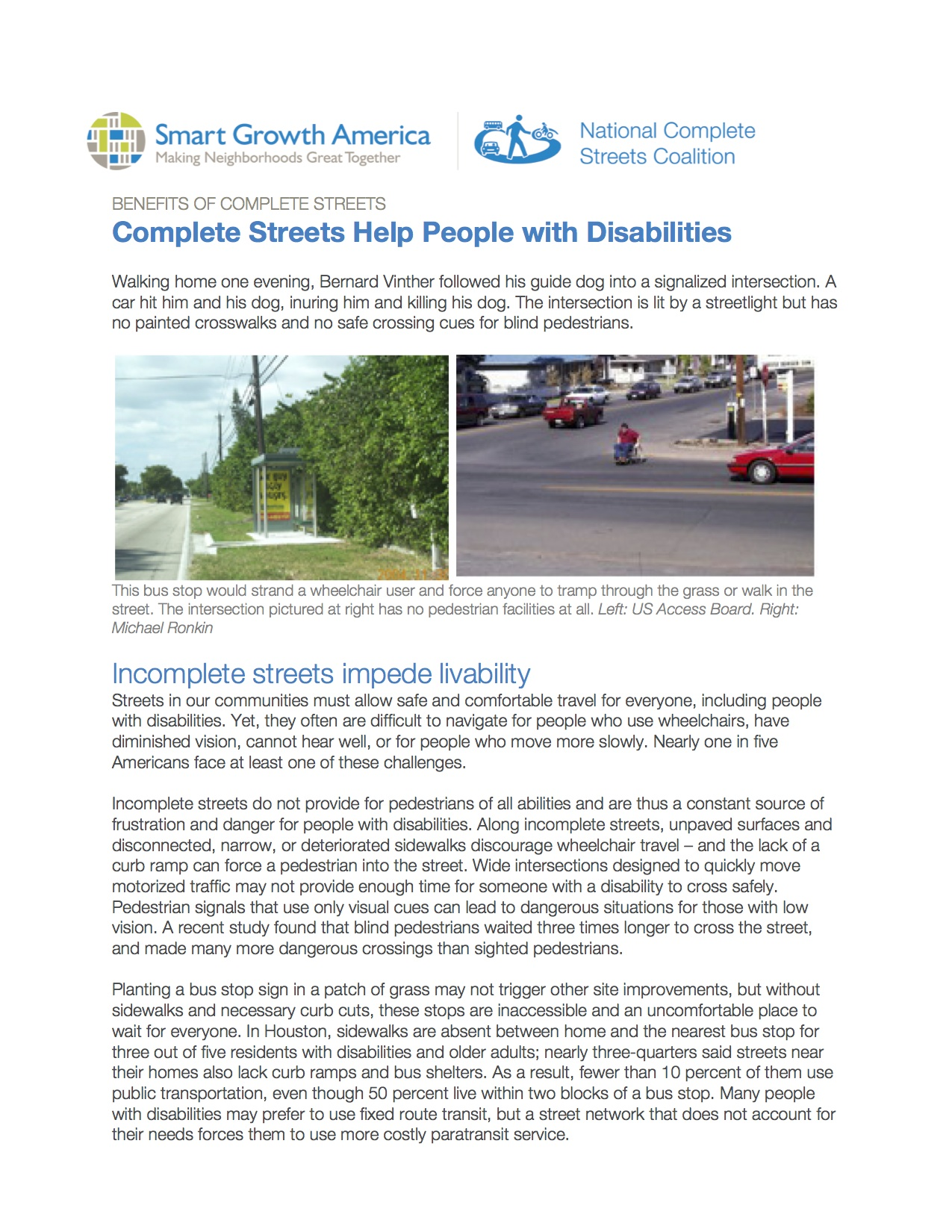 People with Disabilities: Benefits of Complete Streets