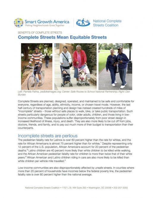 Equity: Benefits of Complete Streets