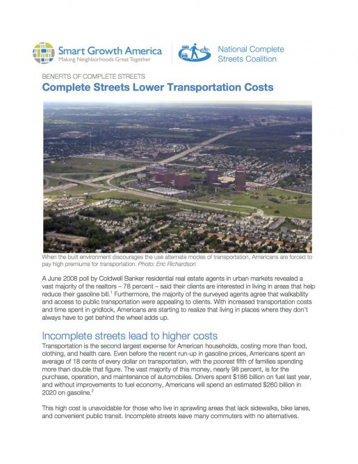 Lower Transportation Costs: Benefits of Complete Streets