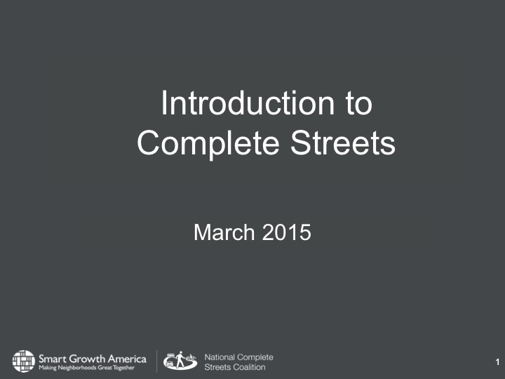 Introduction to Complete Streets