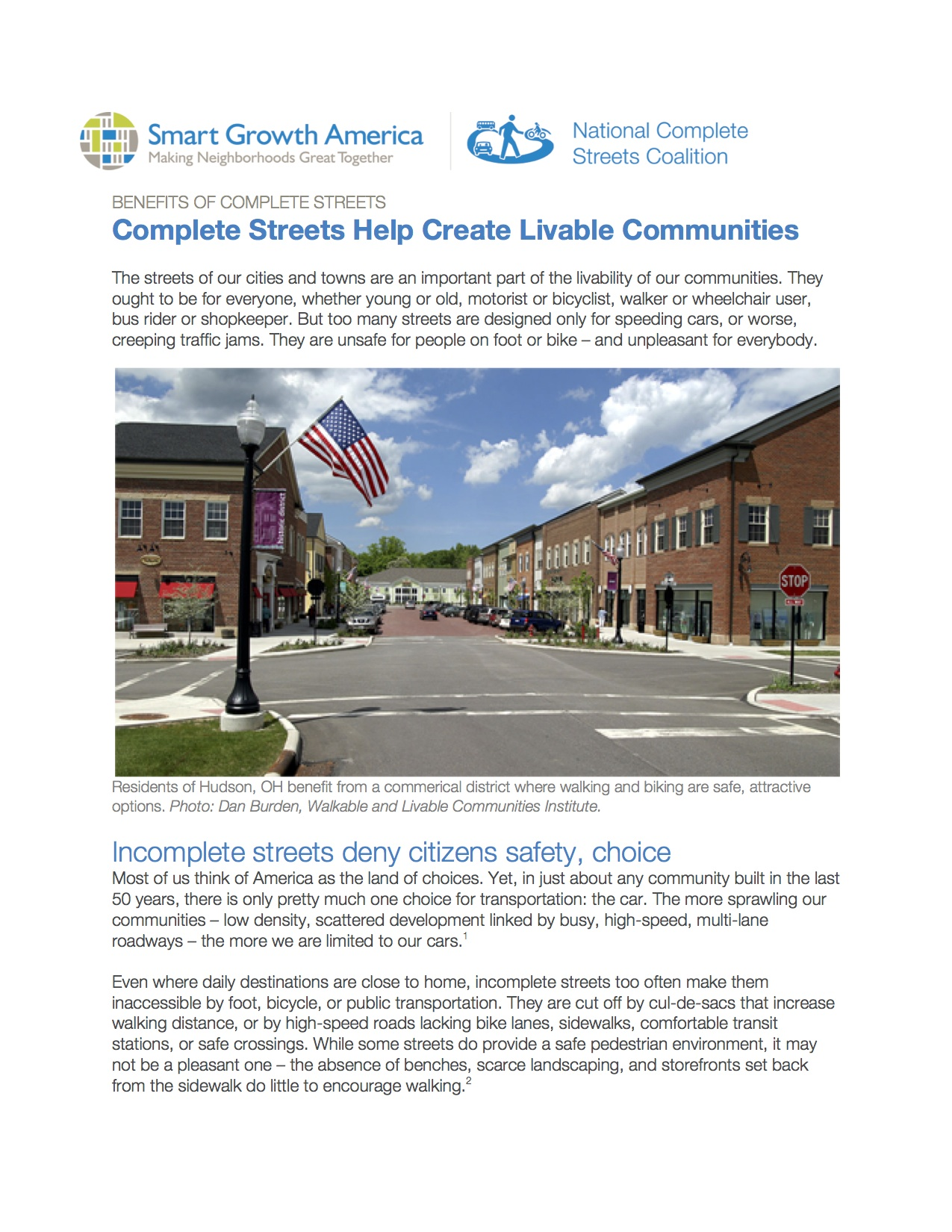 Create Livable Communities: Benefits of Complete Streets