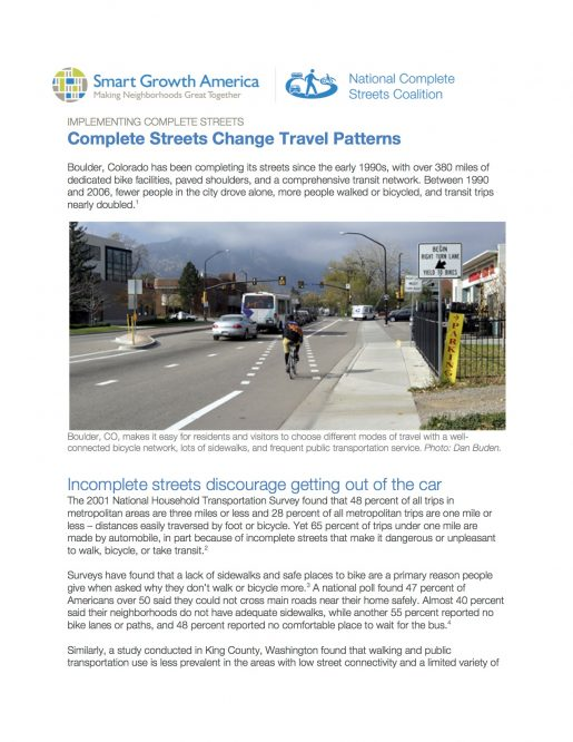 Complete Streets Change Travel Patterns