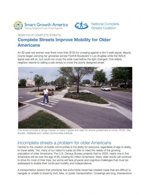 Older Adults: Benefits of Complete Streets
