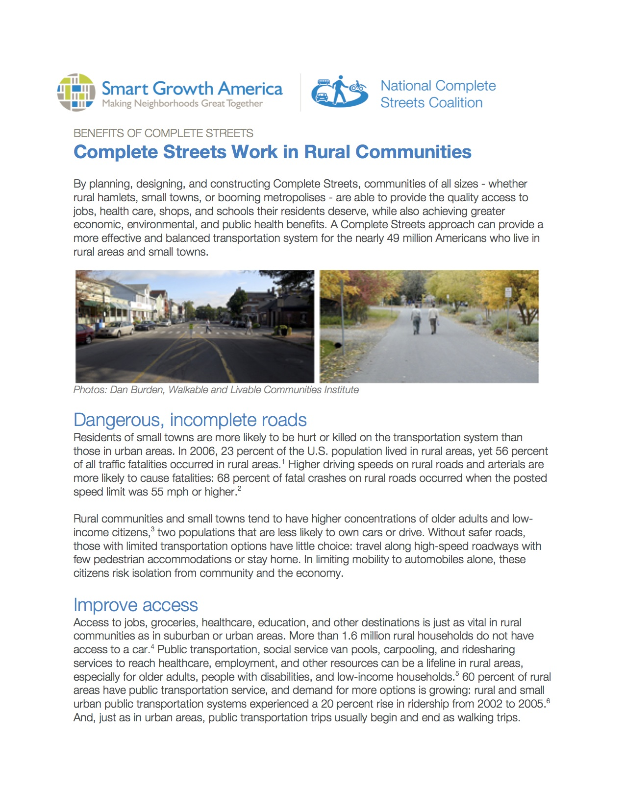 Complete Streets: Rural Areas and Small Towns