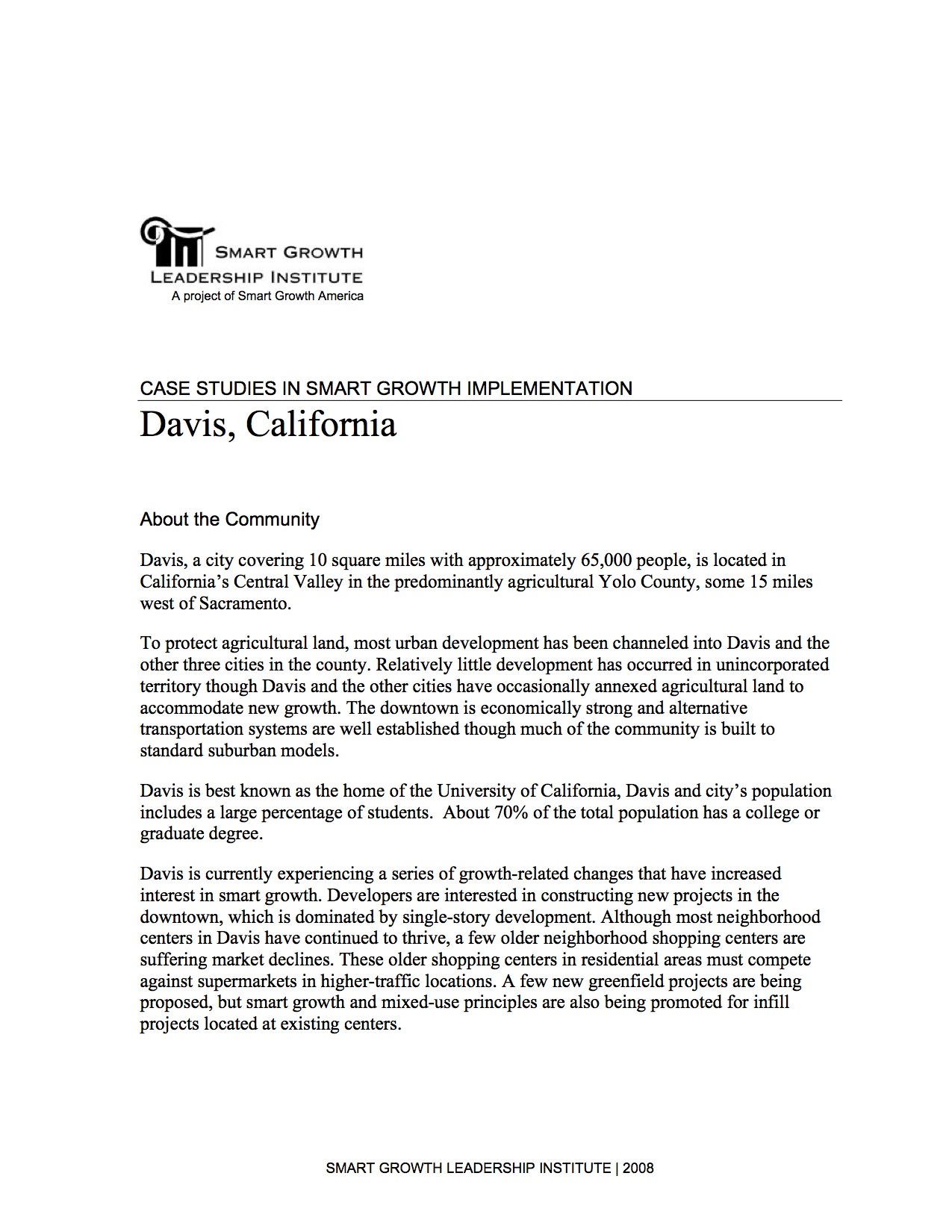 Case Studies in Smart Growth Implementation: Davis, California
