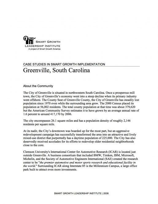 Case Studies in Smart Growth Implementation: Greenville, South Carolina
