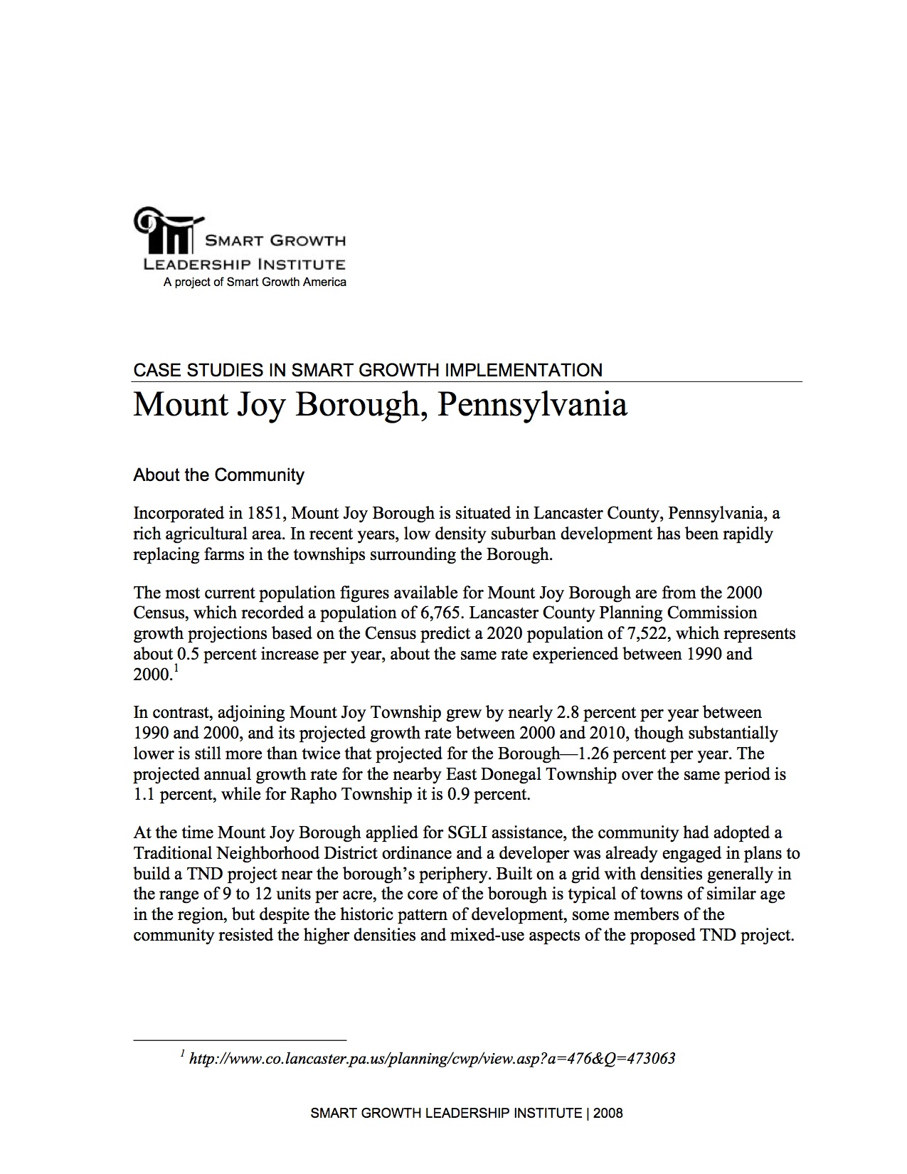 Case Studies in Smart Growth Implementation: Mount Joy Borough, Pennsylvania