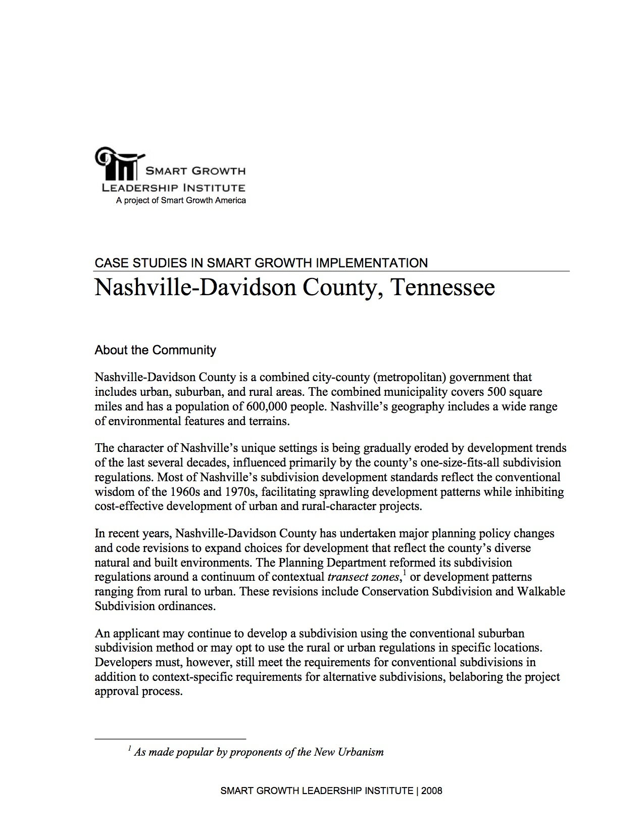 Case Studies in Smart Growth Implementation: Nashville-Davidson County, Tennessee