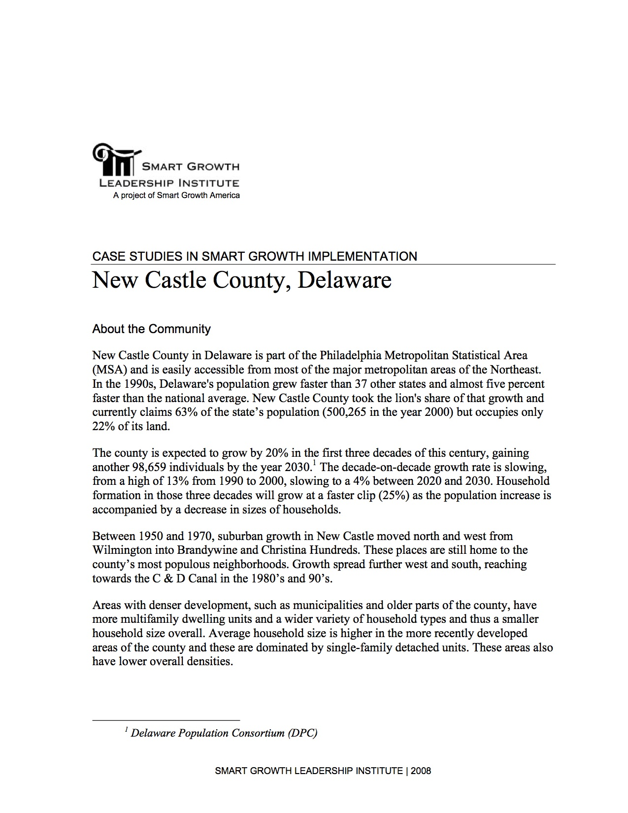 Case Studies in Smart Growth Implementation: New Castle County, Delaware