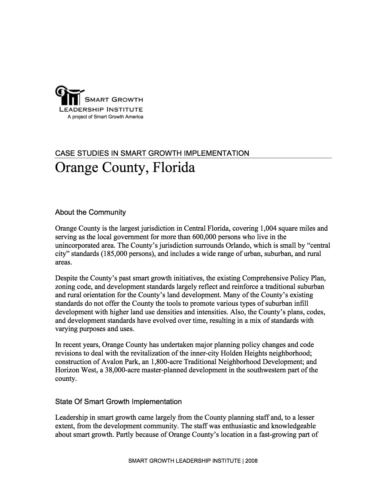 Case Studies in Smart Growth Implementation: Orange County, Florida