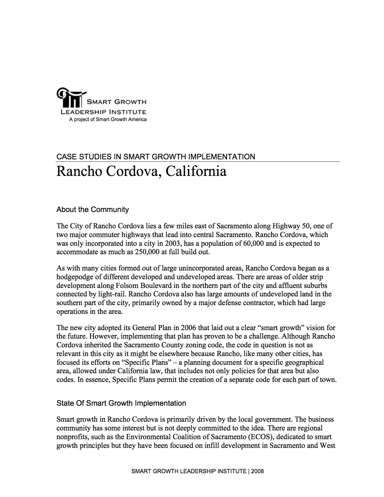 Case Studies in Smart Growth Implementation: Rancho Cordova, California