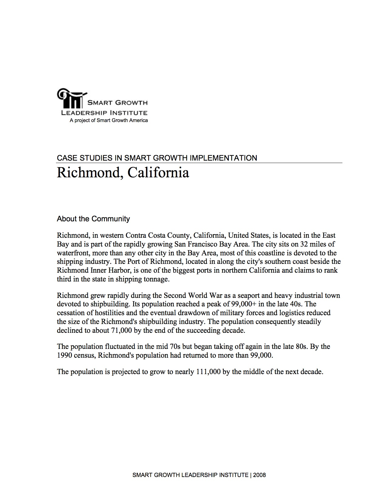 Case Studies in Smart Growth Implementation: Richmond, California