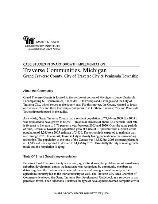 Case Studies in Smart Growth Implementation: Traverse Communities, Michigan