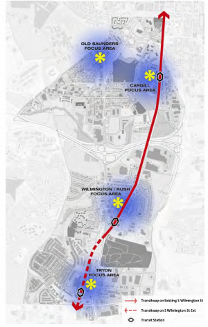The proposed transit plan would extend and repurpose Southern Gateway's South Wilmington Street to serve as a major BRT corridor that connects downtown Raleigh to the Town of Garner.