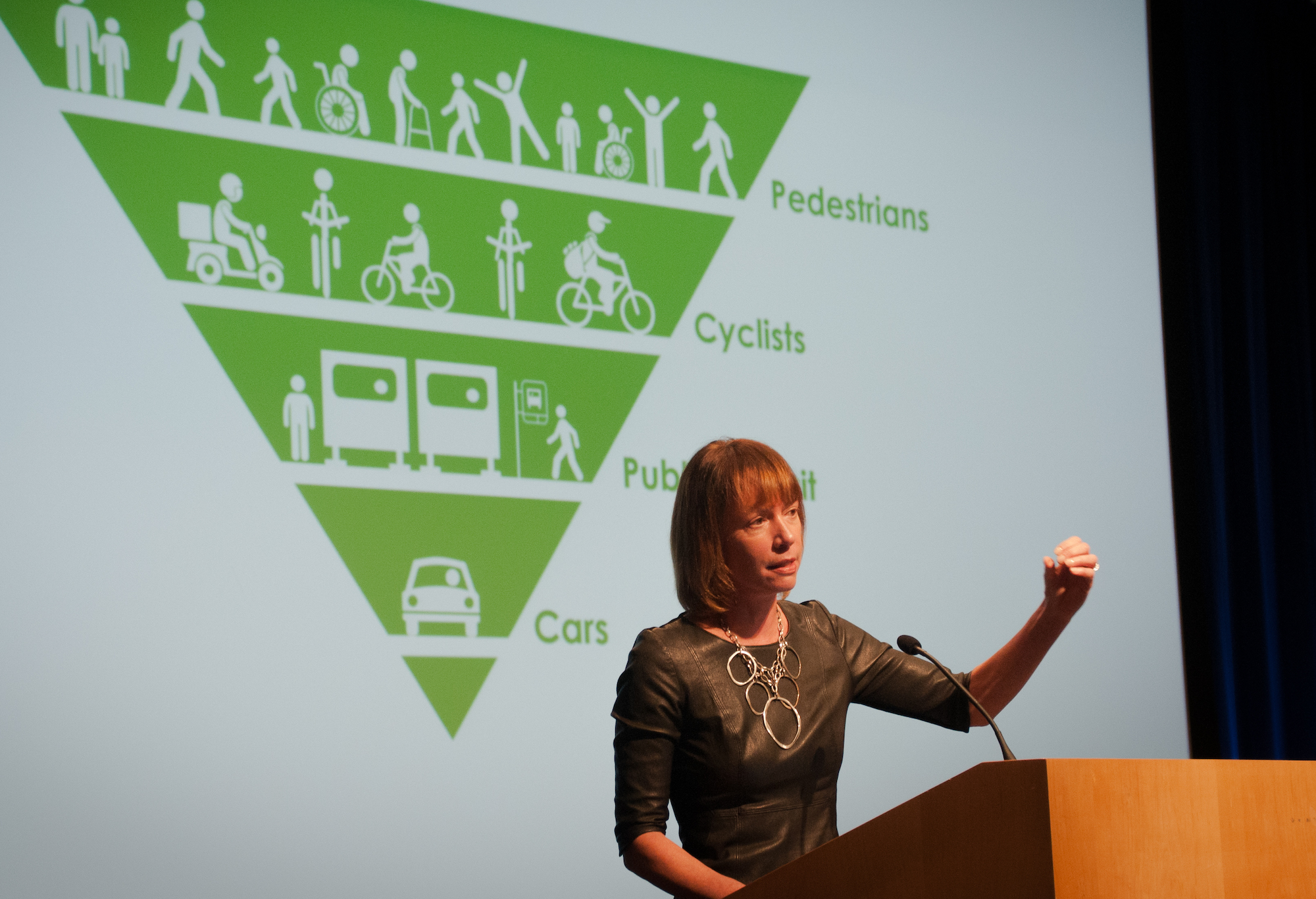 Janette Sadik-Khan speaking at the Transforming Transportation 2015 conference.