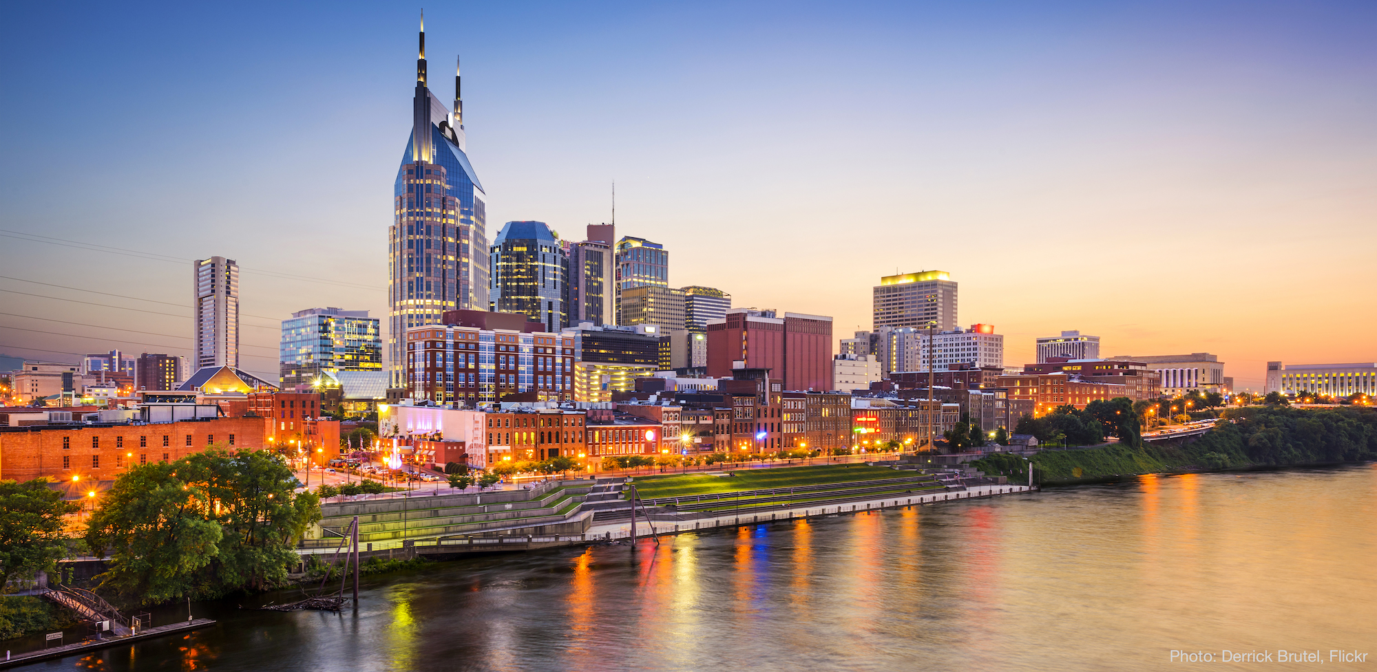 Nashville, TN skyline on the Cumberland River