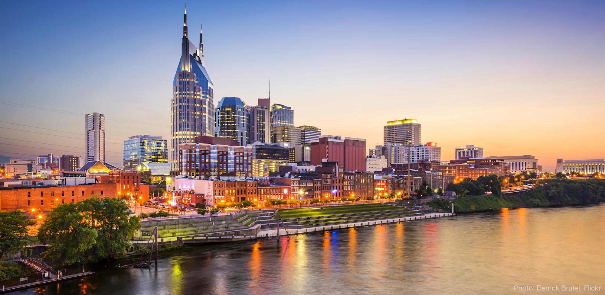 Nashville, TN skyline on the Cumberland River