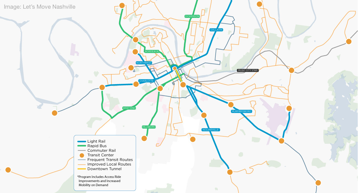 a map of the proposed BRT routes, light rail lines, high-frequency bus corridors, and community transit centers on the Nashville ballot this May.