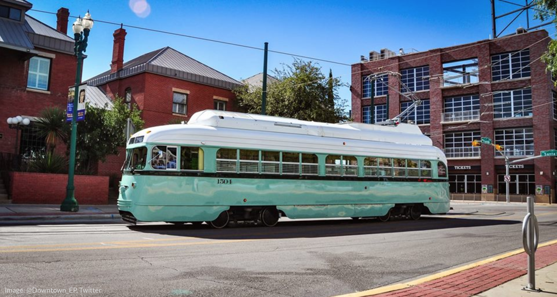 a picture of the restored art deco El Paso streetcars
