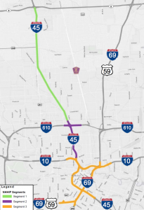 A map of the interstates affected under TxDOT's proposed highway widening scheme.