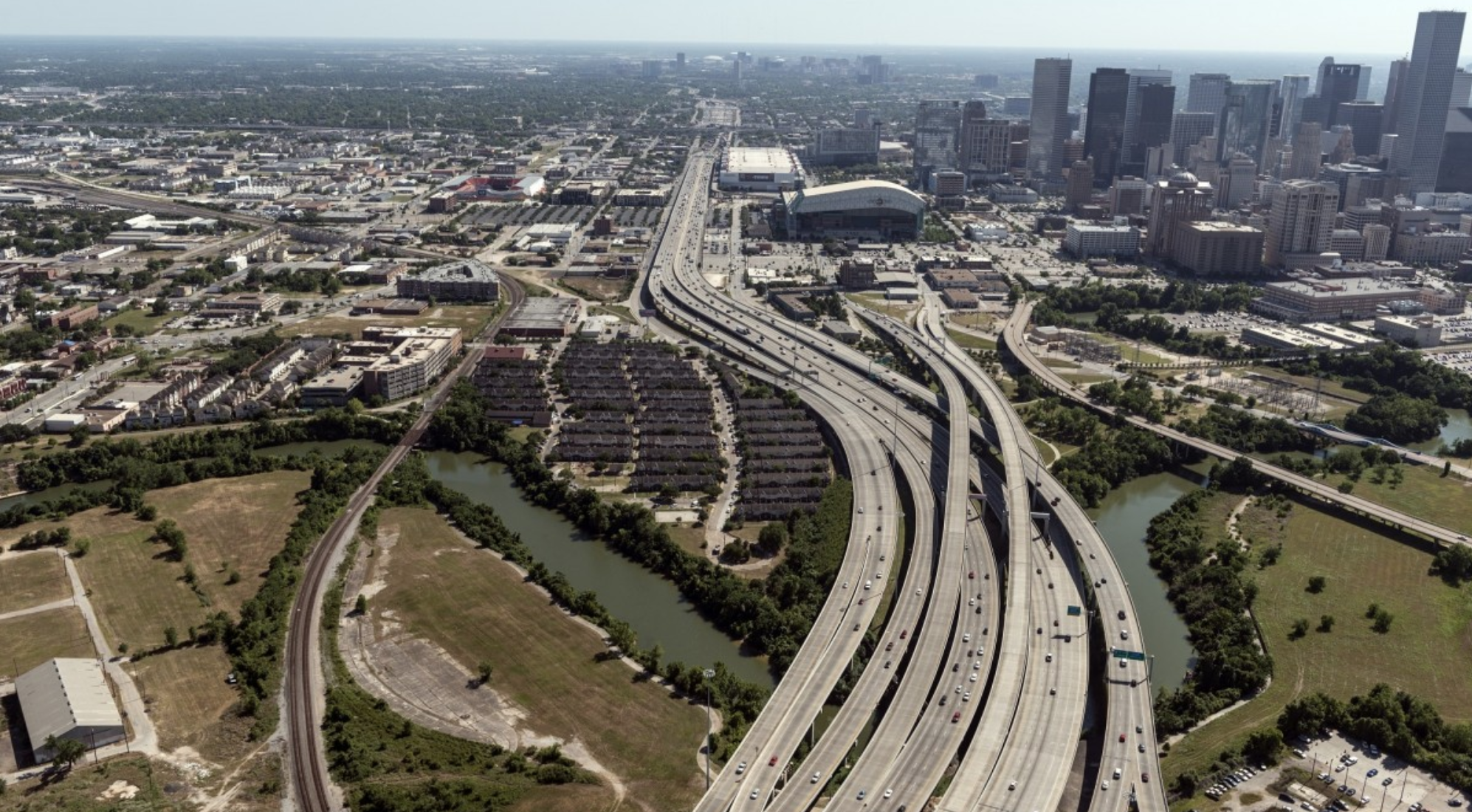 a photo of Houston from the north looking southeast.