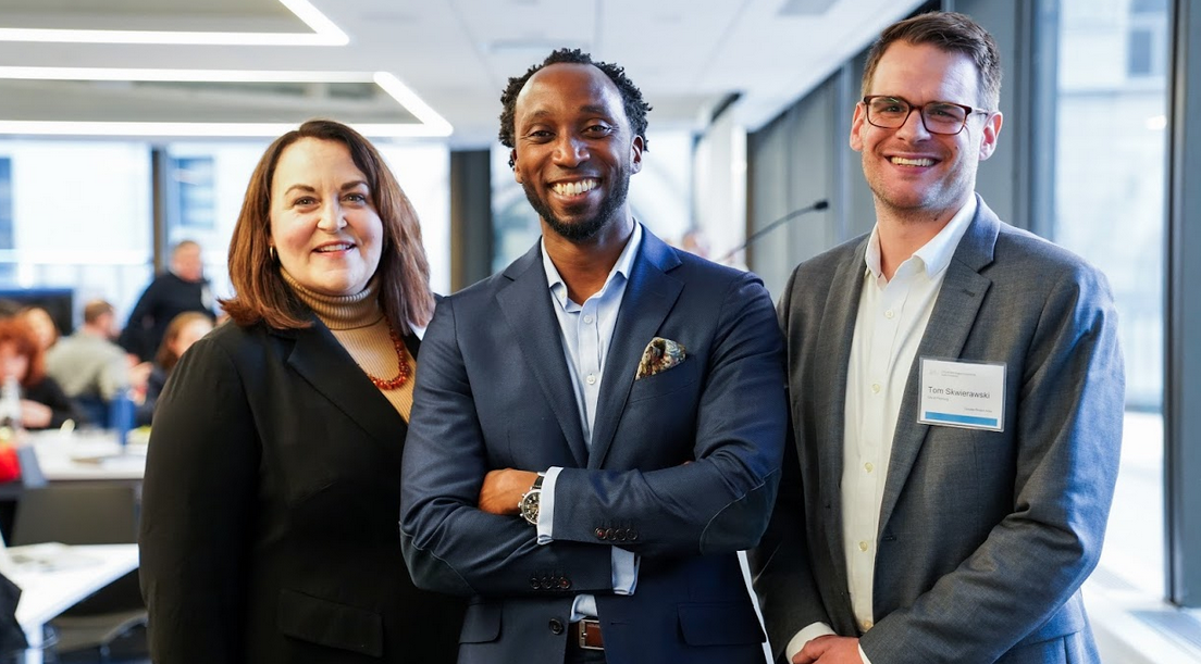 From L-R: Mary Jo Bohart (Director of Economic Development, City of Fitchburg), cohort lead Calvin Gladney (President & CEO, Smart Growth America) and Tom Skwierawski (Executive Director of Community Development, City of Fitchburg) attend the Massachusetts Opportunity Zones Convening in November 2019.