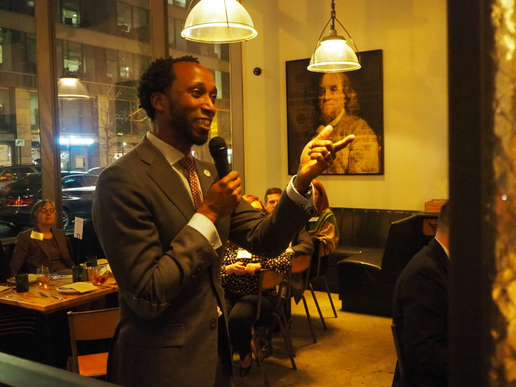 Calvin Gladney, President & CEO at Smart Growth America, delivers remarks at the 10th Annual Complete Streets dinner.