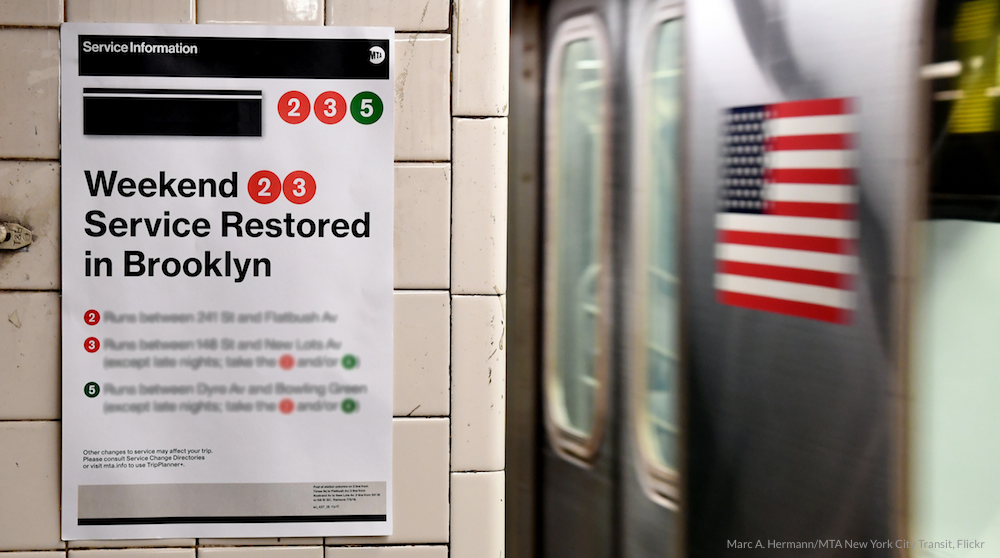 MTA post announcing service restored in Brooklyn