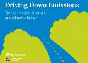 Cover graphic of Driving Down Emissions report, a road blazing through figurative clouds of emissions from top left to bottom right
