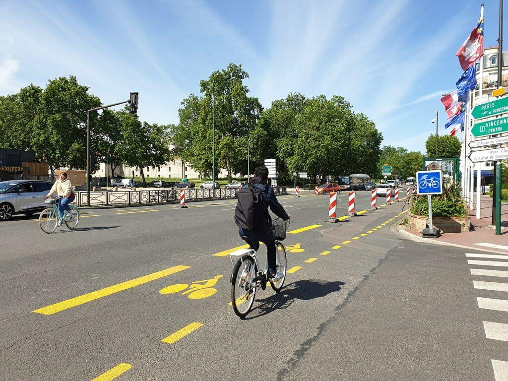 Temporary bike lanes in Paris, France.