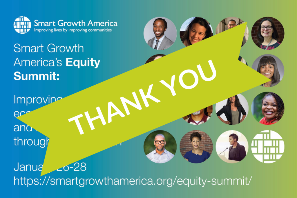 graphic showing equity summit speakers with a thank you banner across it