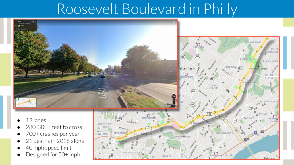 graphic showing Roosevelt Boulevard in Philly with fatality statistics. 12 lanes. 700 crashes per year. 21 deaths in 2018
