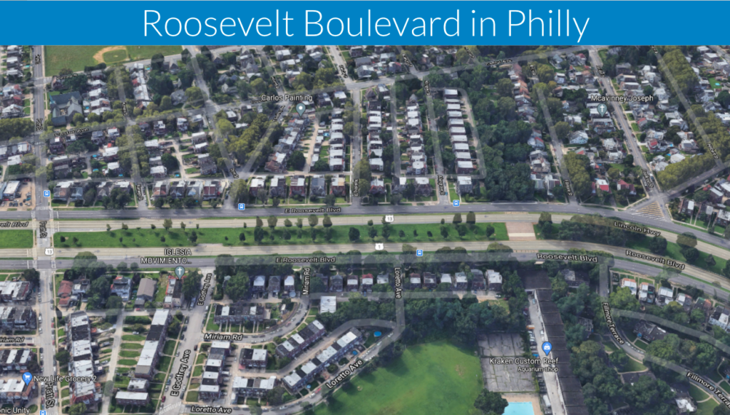 oblique satellite photo of Roosevelt Boulevard in Philly showing dangerous road through neighborhoods