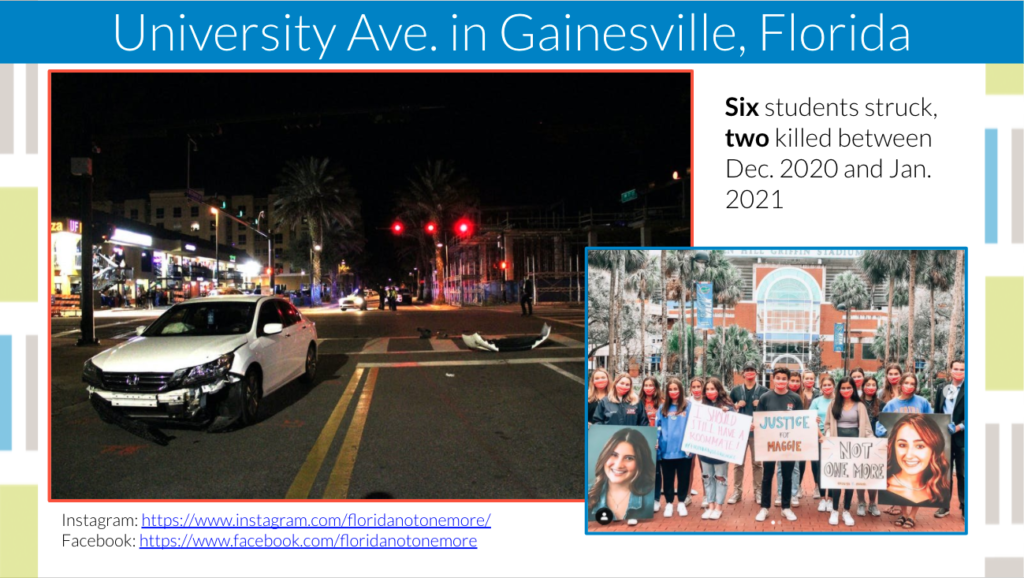 graphic showing a photo of a car involved in a crash on university ave and group of students organizing for safety